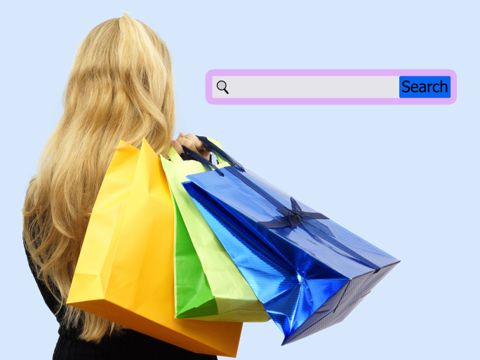 Girl holding shopping bags with search bar. Concept internet shopping